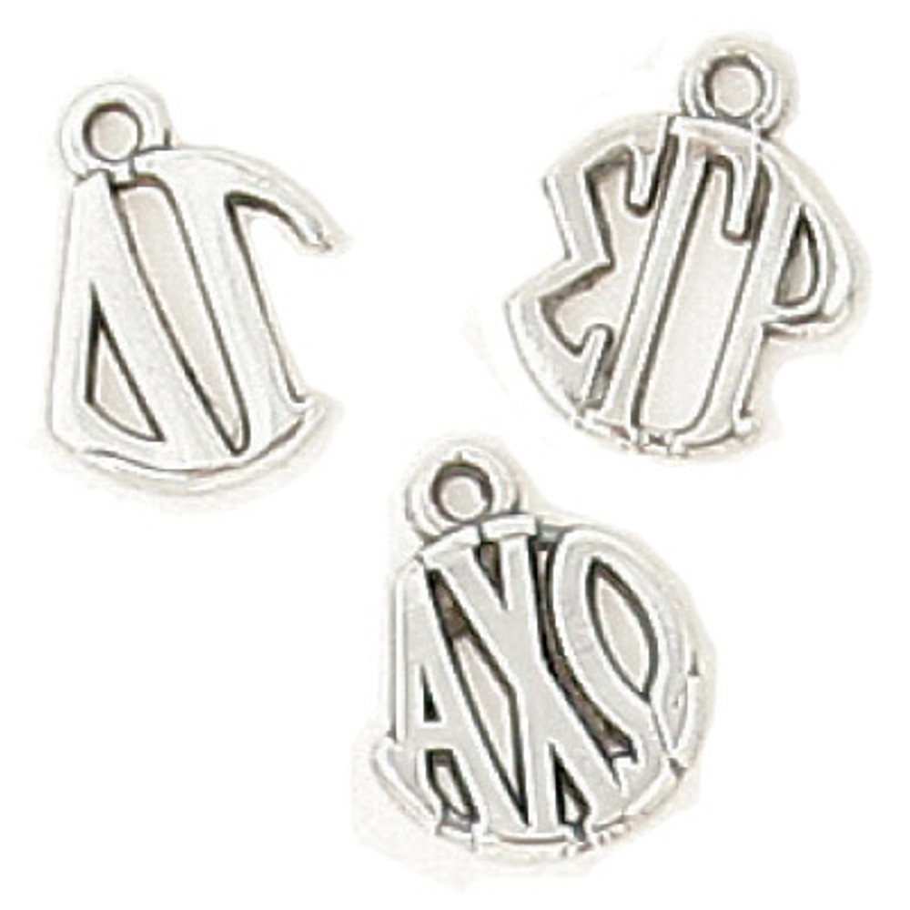 Sterling Silver Circle Drop Charm with Cut Letters