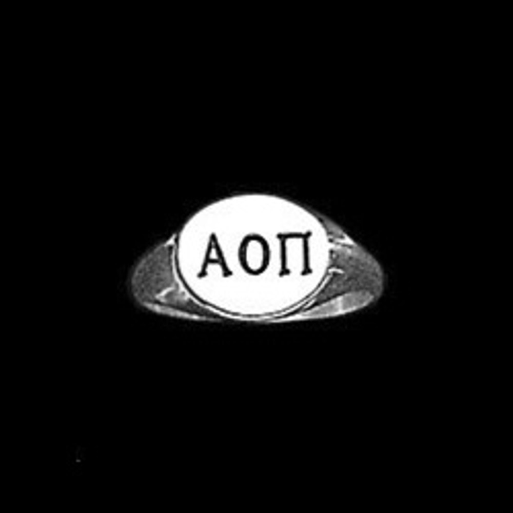 Sterling Silver Sorority Deep Cut Ring with Antique Letters Style A