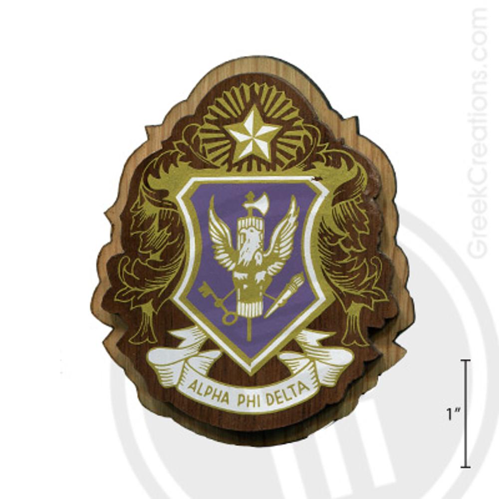 Alpha Phi Delta Large Raised Wooden Crest