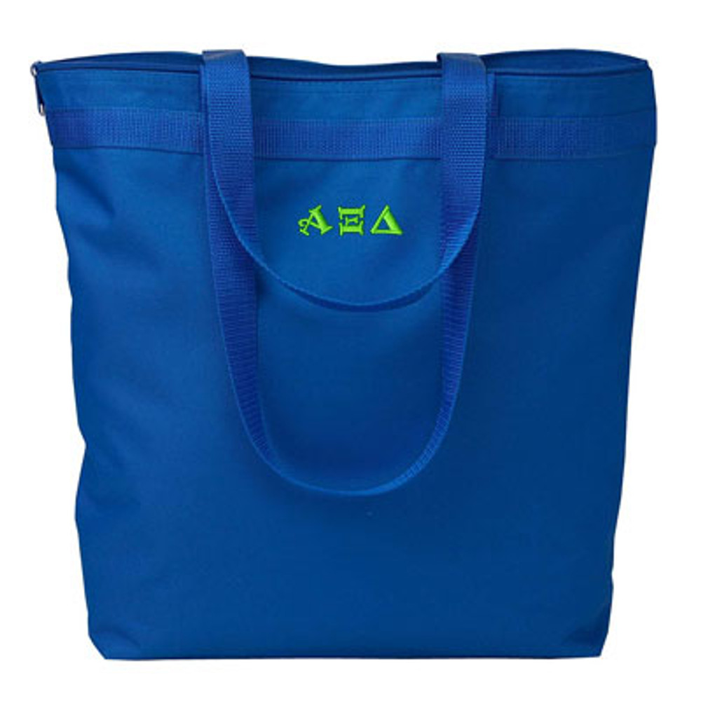Zipper Closure Tote Bag with Letter Embroidery