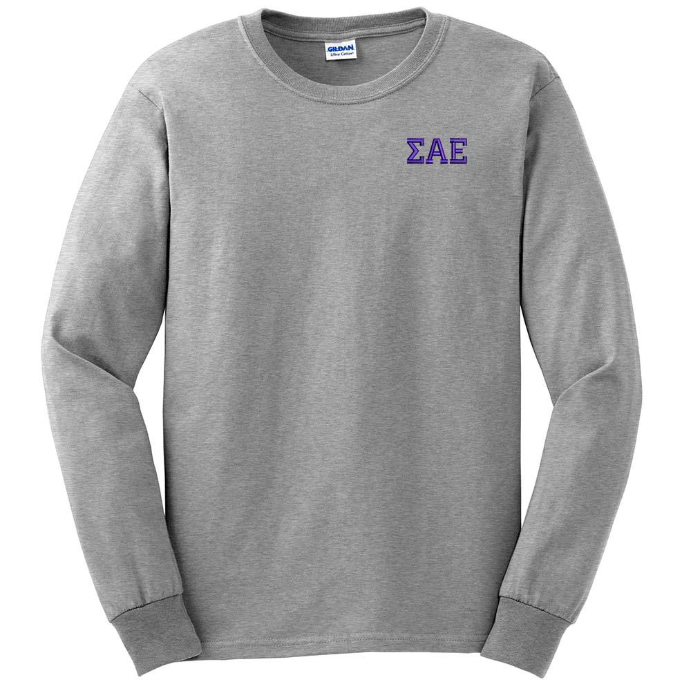 Fraternity & Sorority Embroidered Gildan Long Sleeve T-Shirt