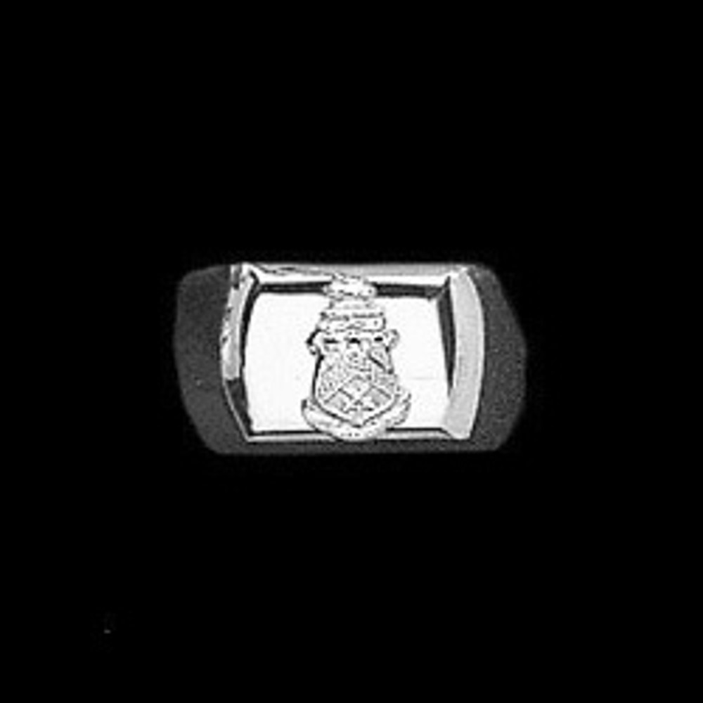 Sterling Silver Fraternity Barrel Ring with Crest