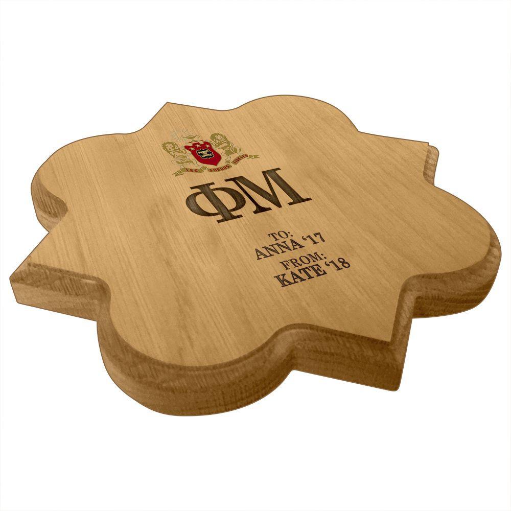 Phi Mu Quatrefoil Paddle Plaque Side
