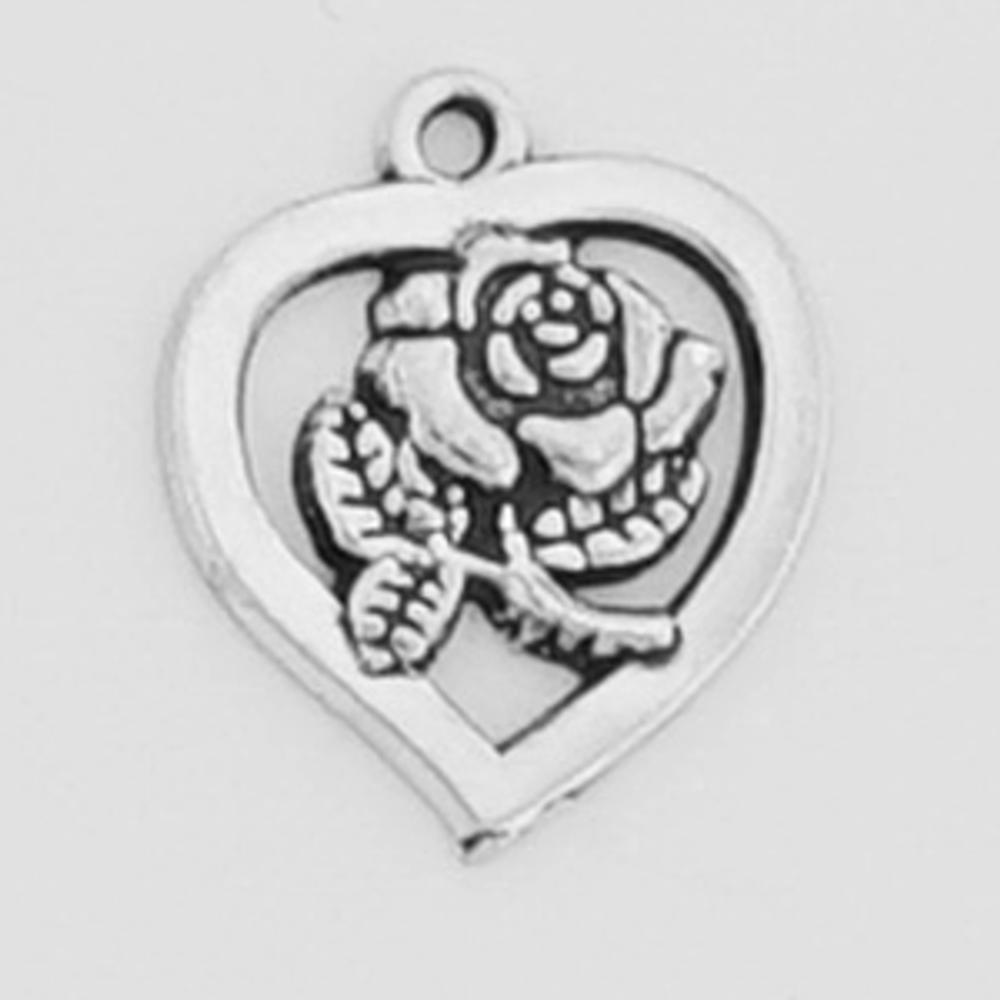 Sterling Silver Heart  W/Rose Symbol