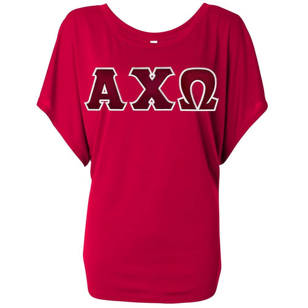 Sorority Lettered Bella Flowy Draped Sleeve Dolman T-Shirt