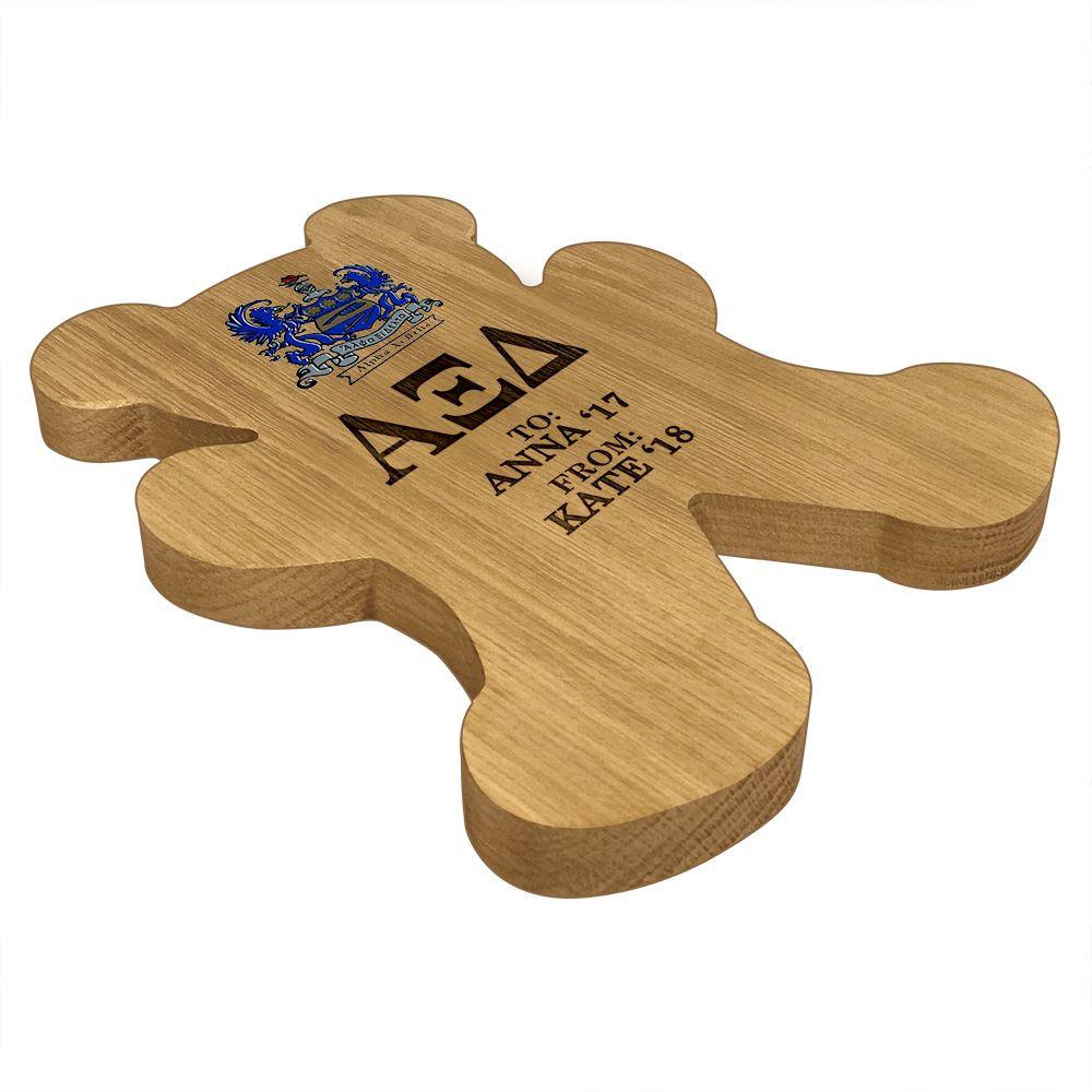 Alpha Xi Delta Bear Paddle Plaque Side