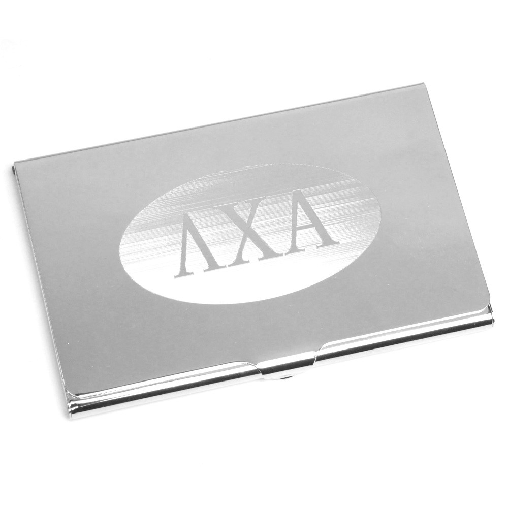 Fraternity and Sorority Silver Business Card Case