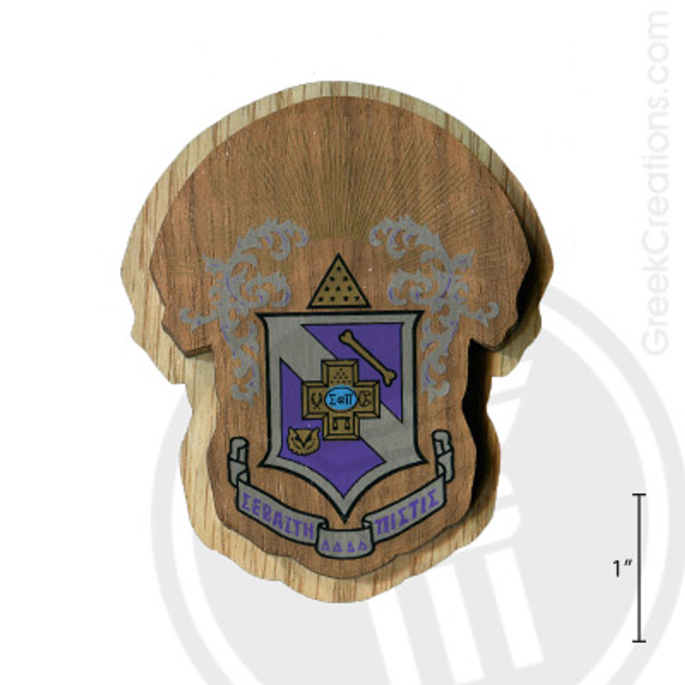 Sigma Pi Large Raised Wooden Crest