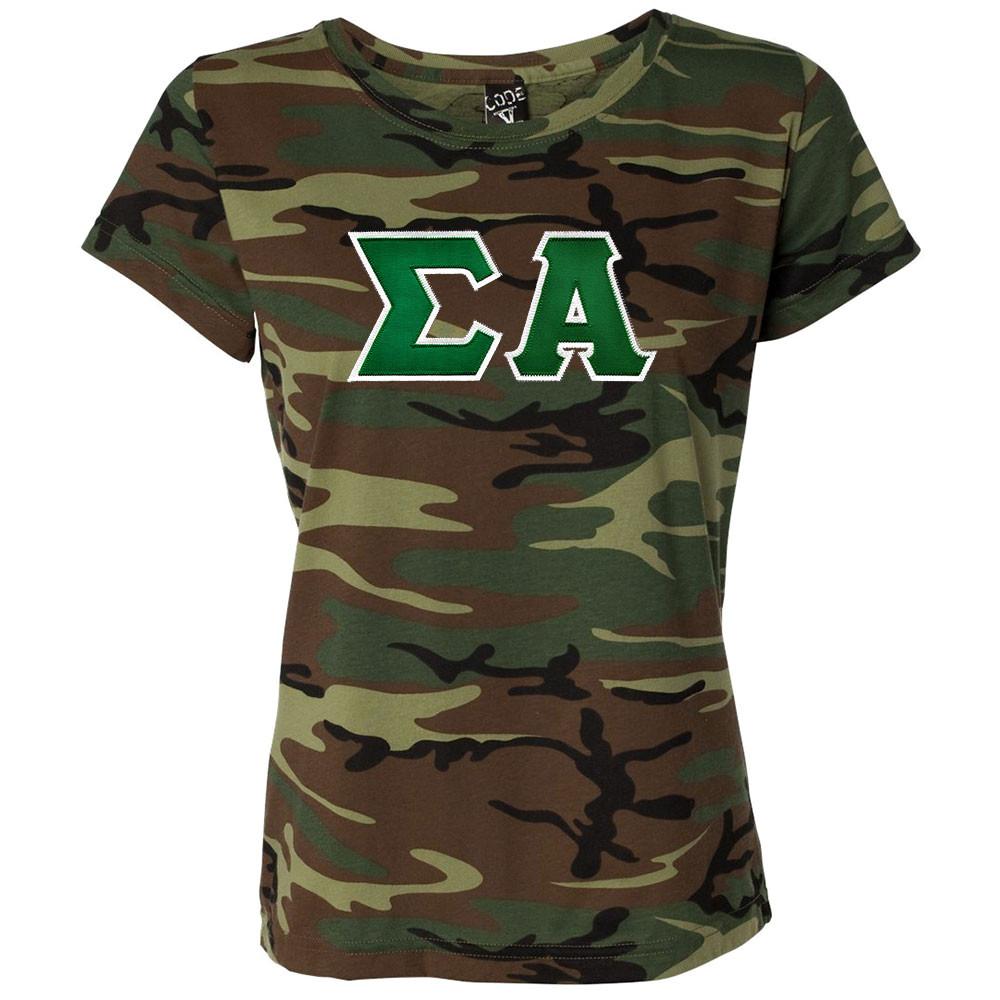 Sorority Lettered Camouflage Short Sleeve T-Shirt
