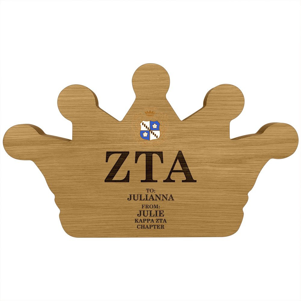 Zeta Tau Alpha Crown Paddle Plaque
