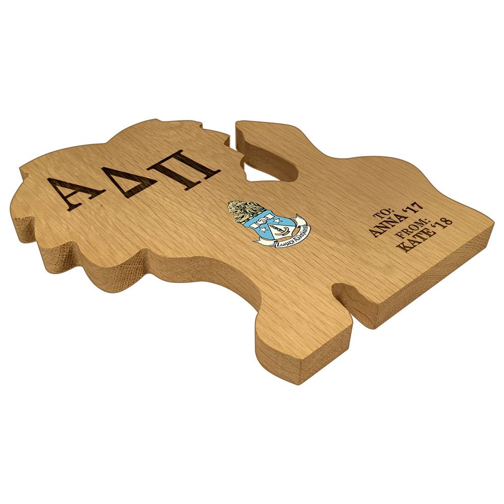 Alpha Delta Pi Lion Paddle Plaque Side
