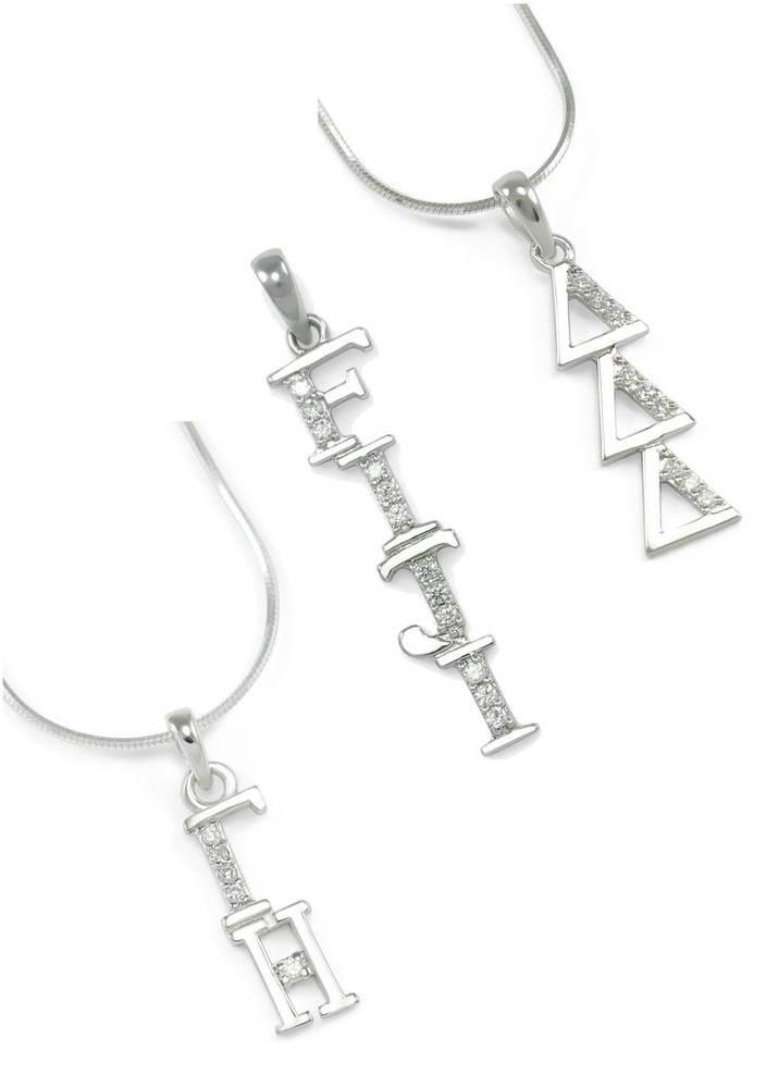 Sterling Silver Lavaliere w/ Simulated Diamonds
