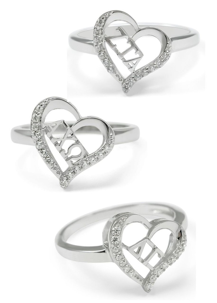 Sorority Heart Ring w/ Simulated Diamonds