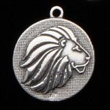 Sterling Silver Lion Mascot Medallion Charm