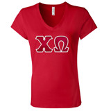 Sorority Lettered Bella V-Neck T-Shirt