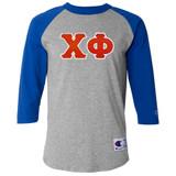 Fraternity & Sorority Lettered Champion Raglan 3/4 Sleeve Jersey