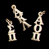 14 kt Gold Vertical Letters Greek Lavalier