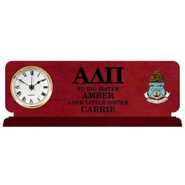 Fraternity & Sorority Engraved Cherry Clock