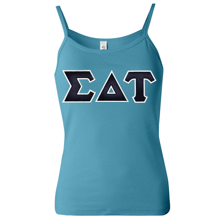 Sorority Lettered Bella Spaghetti Strap Tank