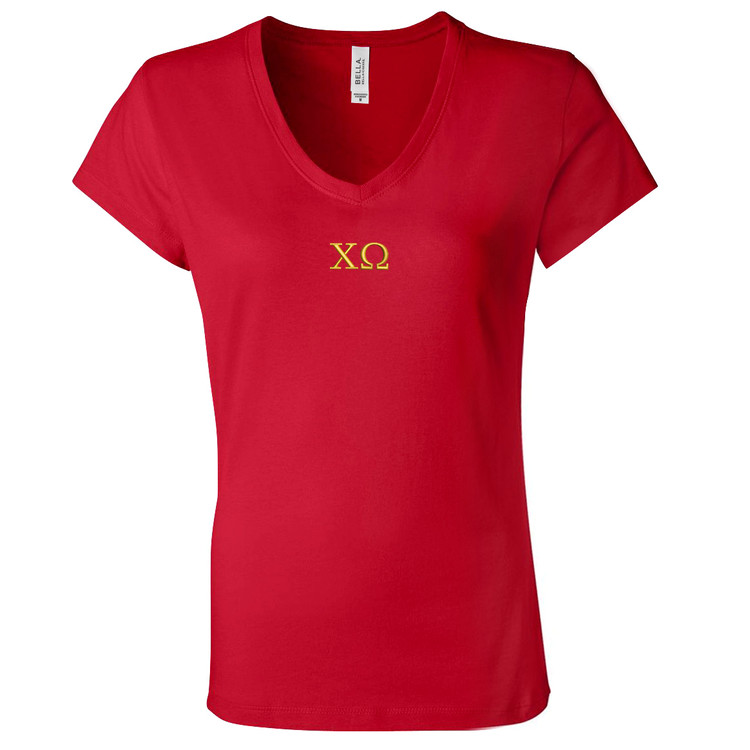 Sorority Embroidered Bella V-Neck T-Shirt