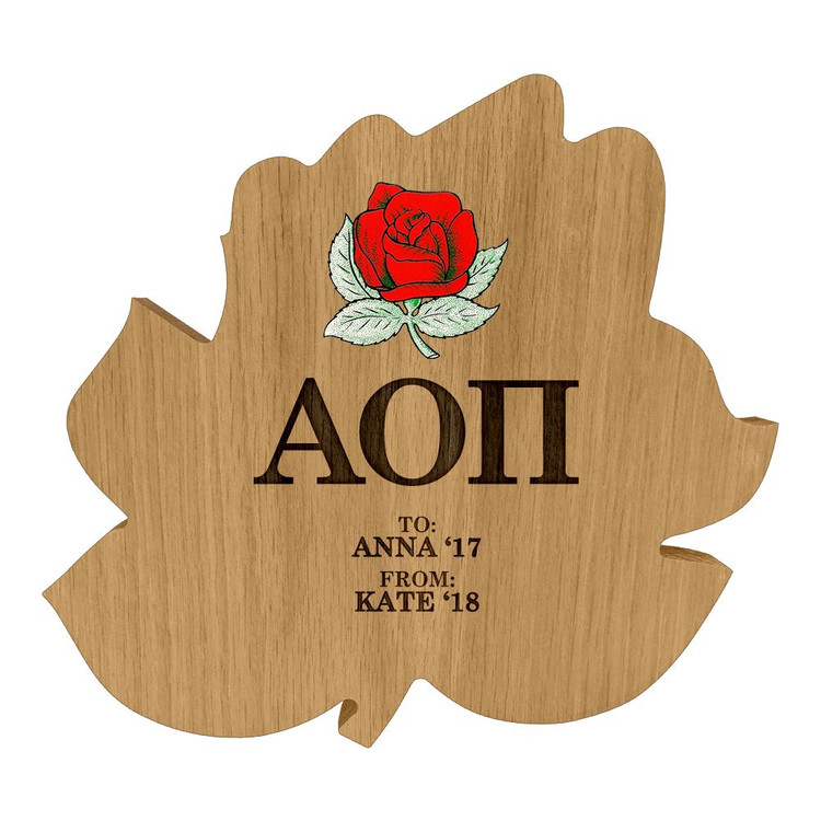 Alpha Omicron Pi Rose Paddle Plaque