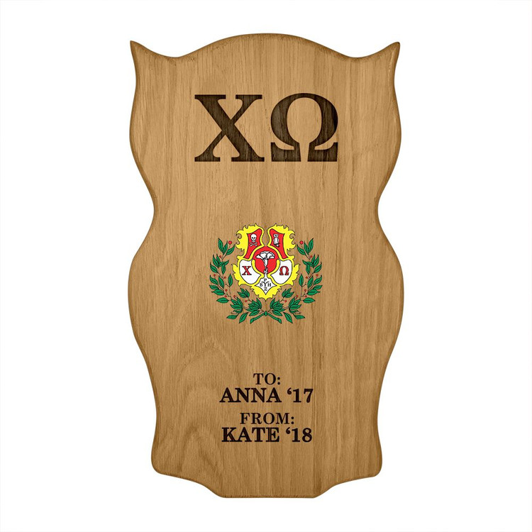 Chi Omega Owl Paddle Plaque