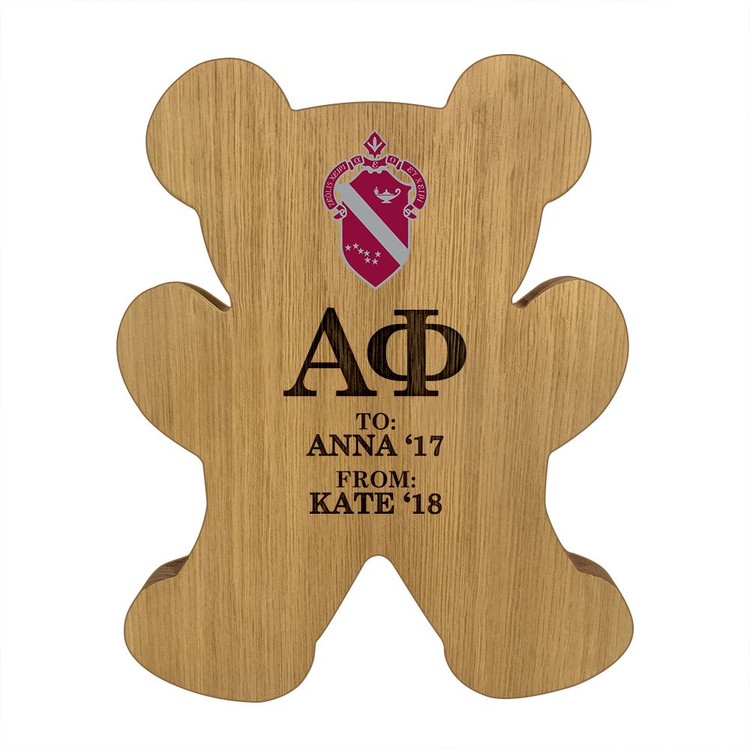 Alpha Phi Bear Paddle Plaque