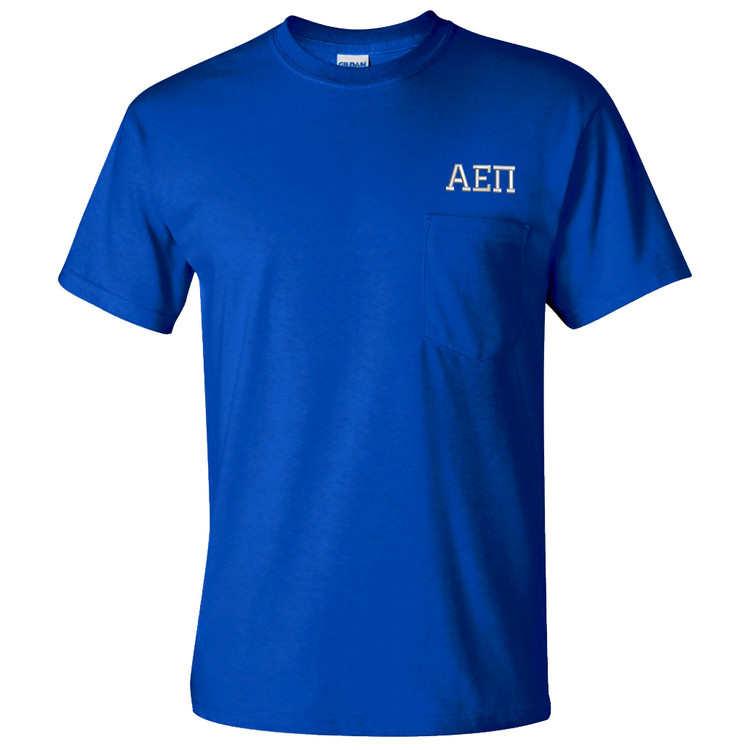 Fraternity & Sorority Embroidered Gildan Pocketed Short Sleeve T-Shirt