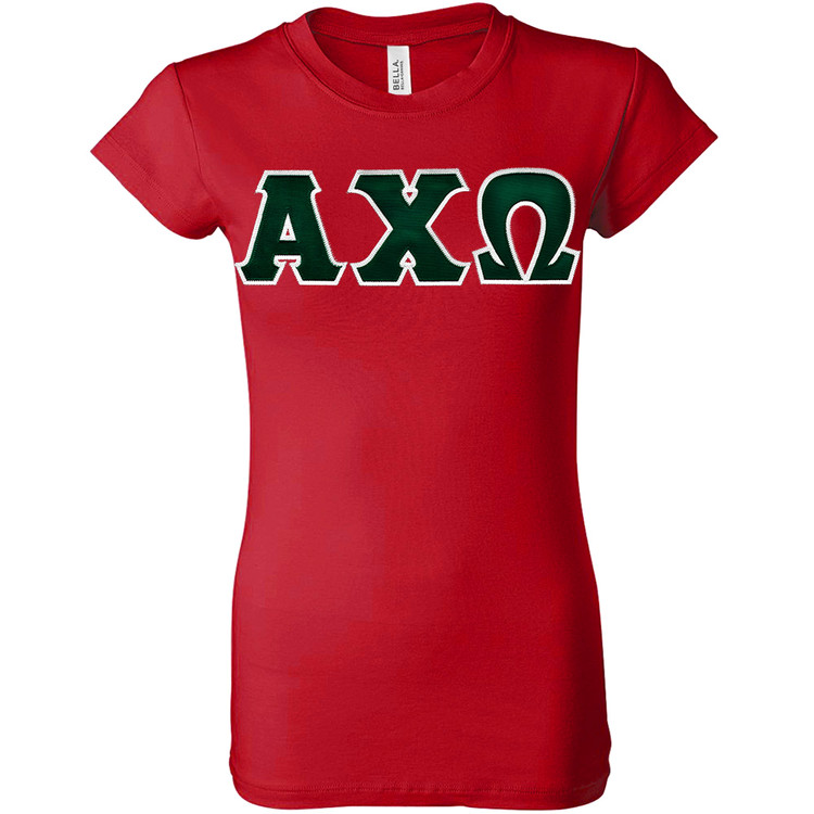 Sorority Lettered Bella Longer Length T-Shirt