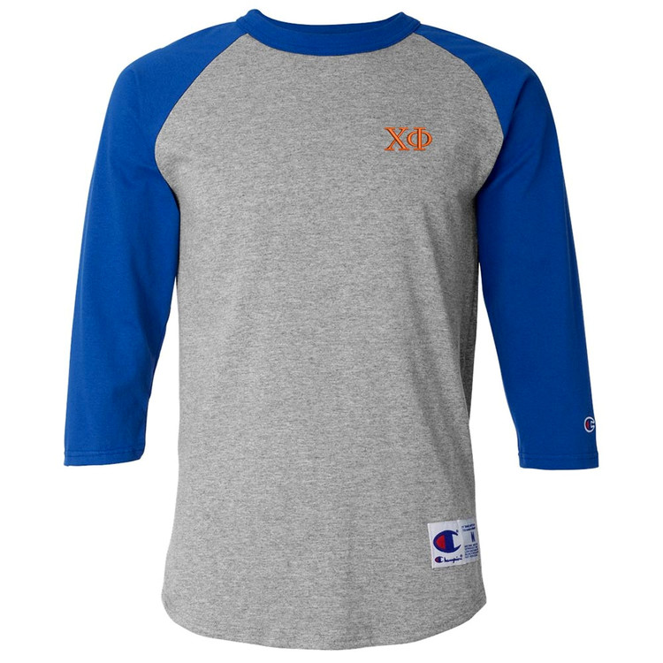 Fraternity & Sorority Embroidered Champion Raglan 3/4 Sleeve Jersey