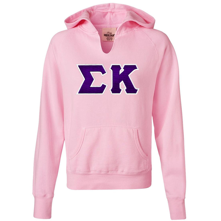Sorority Lettered Comfort Colors Front-Slit Hoodie