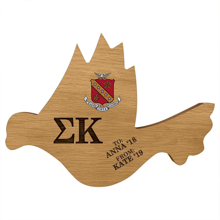 Sigma Kappa Dove Paddle Plaque