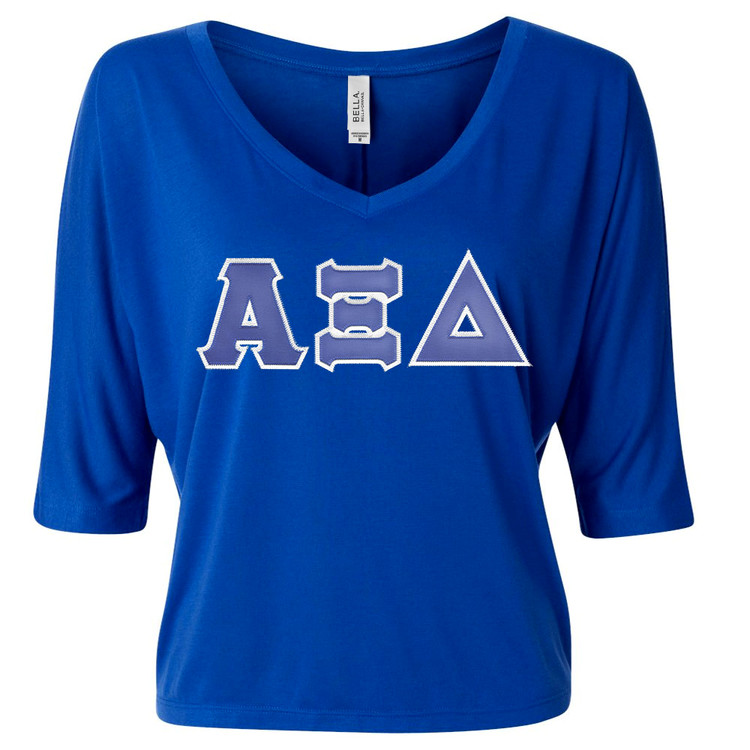 Sorority Lettered Bella Flowy V-Neck Cropped Top