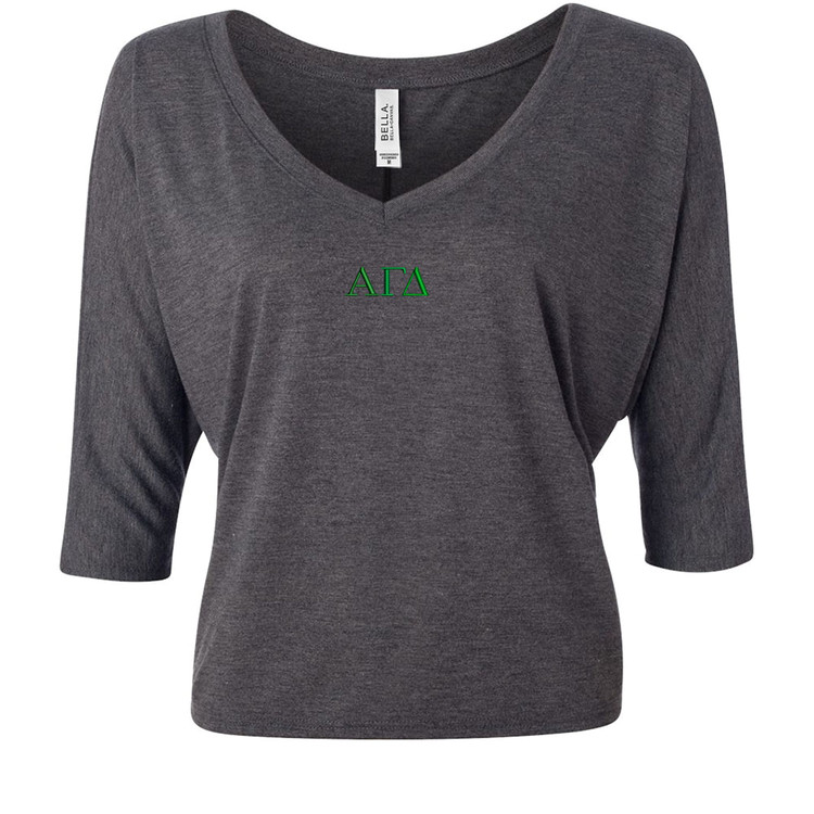 Sorority Embroidered Bella Flowy V-Neck Cropped Top
