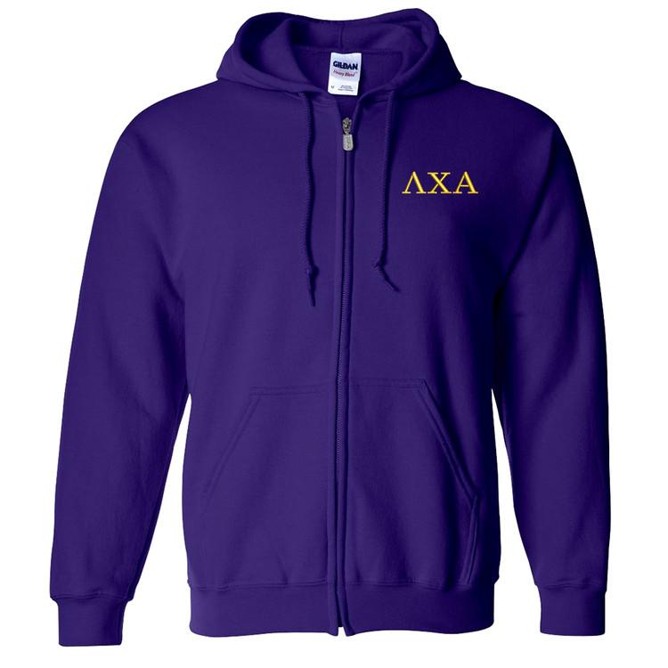 Fraternity & Sorority Embroidered Gildan Full Zip Hooded Sweatshirt