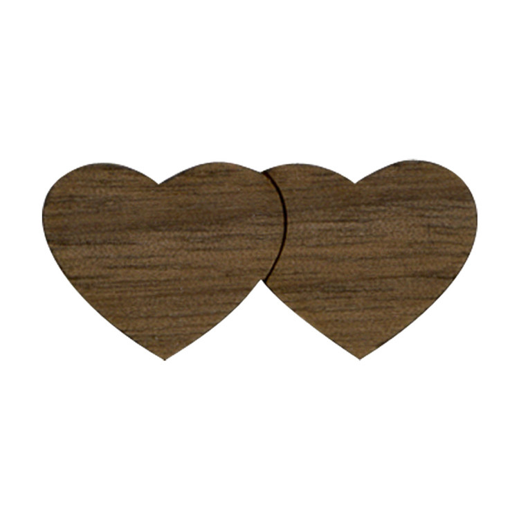 Wooden Double Heart Symbol
