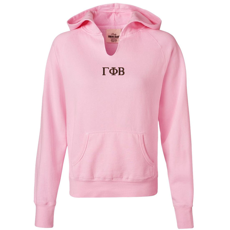 Sorority Embroidered Comfort Colors Front-Slit Hoodie