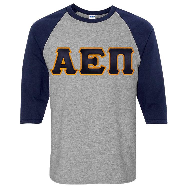 Fraternity & Sorority Lettered 3/4 Sleeve Raglan T-Shirt