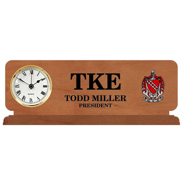 Fraternity & Sorority Engraved Walnut Clock