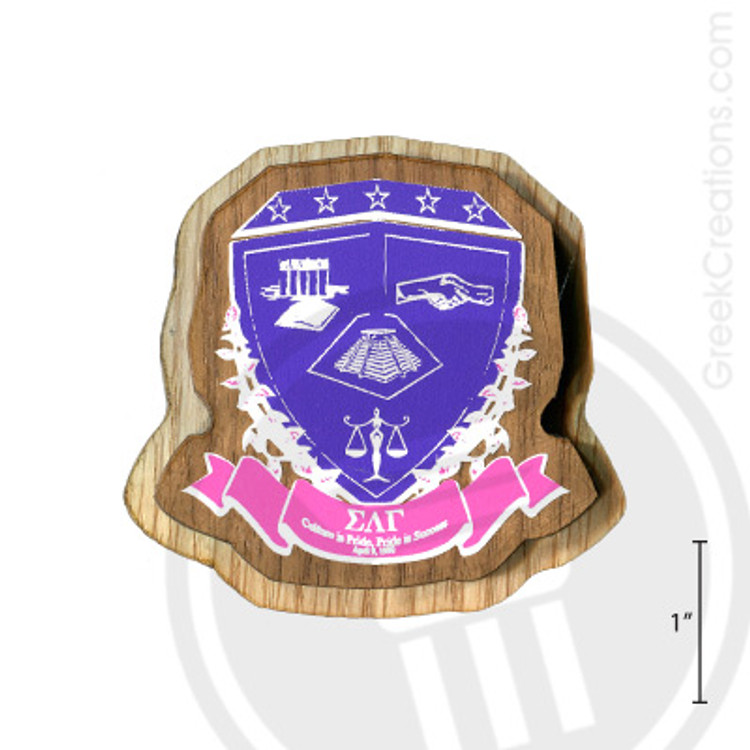 Sigma Lambda Gamma Large Raised Wooden Crest