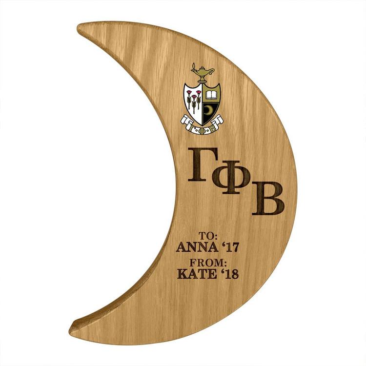 Gamma Phi Beta Crescent Paddle Plaque