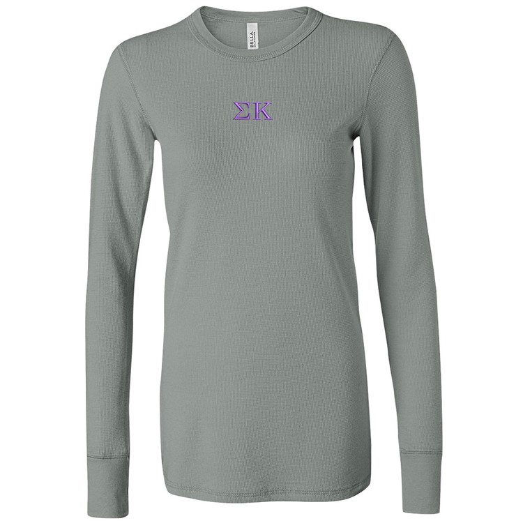 Sorority Embroidered Bella Long Sleeve Thermal T-Shirt