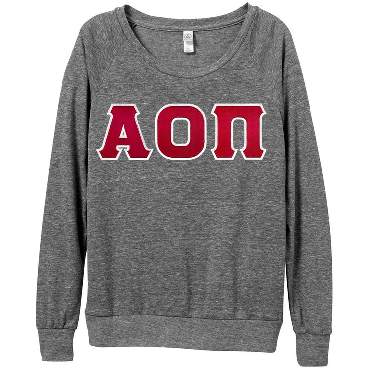 Sorority Lettered Alternative Slouchy Pullover Shirt