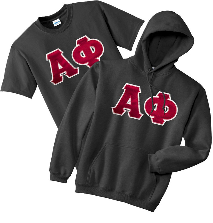 Fraternity & Sorority Lettered Matching Gildan Hoodie & T-Shirt Set