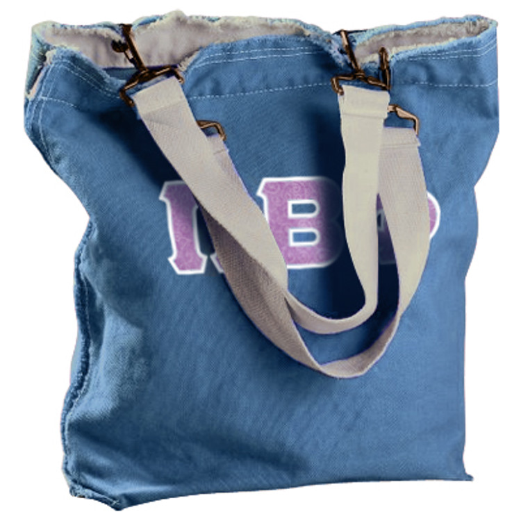 Raw-Edge Tote Bag with Sewn-On Letters