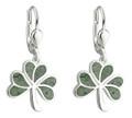 Shamrock Earrings with Connemara Marble - Sterling Silver