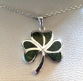 Shamrock Necklace with Connemara Marble - Sterling Silver