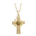 Gold Plated & Connemara Marble Celtic Cross Pendant - Solvar Jewelry Made in Ireland