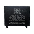 Irish Coat of Arms Slate Trivet Blessing w/ Stand - May the Road Rise Up to Meet You