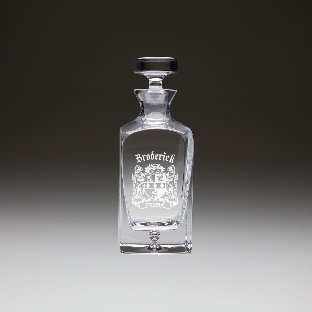 Sand Etched McKenna Irish Coat of Arms Whiskey Decanter